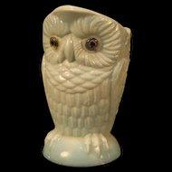 1880's EAPG Challinor Taylor Opal Blown Blue Glass Eyes Owl Figure Milk Pitcher