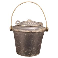 """1800's Victorian Antique """"The Home"""" Cast Iron Ink Well Glue Pot Pail Bucket Primitive Scrapbook Inkwell"""