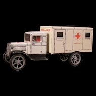 "Vintage Hawkey ""MASH"" Army Hospital Ambulance Military Tin Pull Toy Model T Truck"
