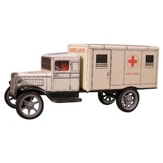 "Vintage Hawkey ""MASH"" Army Hospital Ambulance Military Tin Pull Toy Model T Truck"