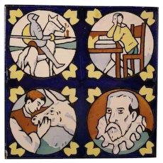 Vintage Diago Castellon Faience Ceramic Pottery Tile Portrait Plaque Don Quixote