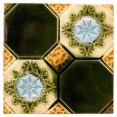 19c Art Encaustic Majolica Pottery Low Relief Aesthetic Portrait Plaque Tile Green Blue