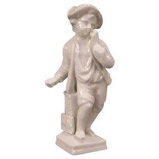 Vintage Porcelain Lion Boy Figure KPM Blue Ink Mark German Statue Tin Glaze Figurine
