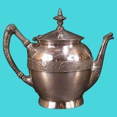 19th Century Victorian Silver Relief Scenic Cupid Soldier Portrait Coffee Chocolate Tea Pot Teapot