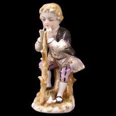 Vintage Colonial Porcelain Hand Painted Boy & Bird Gold Figurine Statue Sculpture