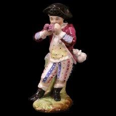 1800's German Porcelain Meissen Dresden Boy Figure Pen Stand Holder Figurine Ink~