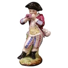 1800's German Porcelain Meissen Dresden Boy Figure Pen Stand Holder Figurine Ink~