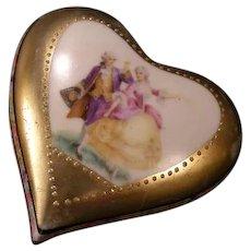 Antique Porcelain Heart Trinket Dresser Jewelry German Ring Patch Portrait Box~