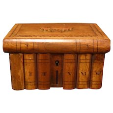 Antique Trinket Dresser Jewelry Wood Book Inlay Inlaid Puzzle Heraldry Box Bank
