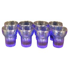 "30's 8 Hazel Atlas ""FINE RIB"" Cobalt Blue Bar Tumbler Depression Shot Glass Set"