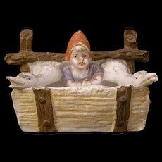 Antique German Porcelain Bisque Girl  Goose Figure Figurine Match Safe Holder