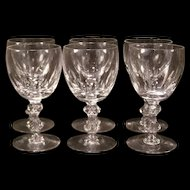 Set of 6 Vintage Tiffin Consul Cut Stem Crystal Goblet Wine Glass Cordial
