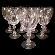 Set of 8 Vintage Tiffin Consul Cut Stem Crystal Martini Goblet Wine Champagne Glass