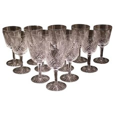 12 Vintage SENECA Cut Crystal OLD MASTER Pattern Water Chalice Stem Goblet Wine