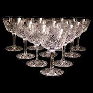 10 Vintage SENECA Cut Crystal OLD MASTER Pattern Water Chalice Stem Goblet Wine