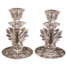 Pair 40's Fostoria Glass Baroque Rose Chintz Etch Pattern Candle Stick Holders Candleholder