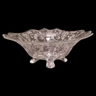 "1930s Cambridge ""Rose Point"" Elegant  Glass Etch 12"" Footed Serving Bowl Centerpiece"