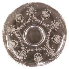 "40s Heisey Orchid Etched 13"" Elegant  Glass Floral Bowl Waverly Center"