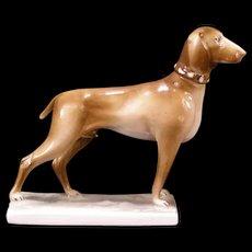 Vintage 30s Zsolnay Pecs Hungary Porcelain Pointer Dog Figurine Statue Sculpture