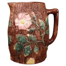19 c Majolica Pottery Moss Rose Dog Wood Tree Bark English Staffordshire Pitcher