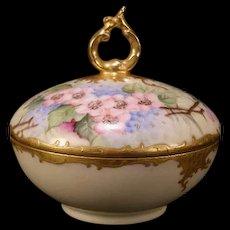 19 c T&V Limoges Hand Painted French Porcelain Gold Leaf Gilt Covered Candy Dish Art Nouveau