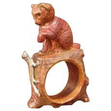 40s Folk Art Hand Carved Cat Kitten Napkin Ring Holder Lizard Gila Monster Treen