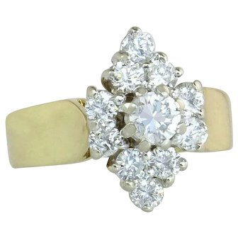 Estate Vintage 14 Karat Yellow Gold 1.50ct Genuine Diamond Engagement Ring
