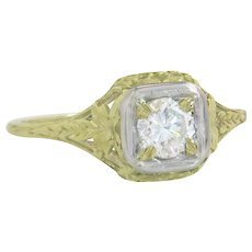 GIA Certified .61ct Diamond 14K Gold Flowers Art Deco Engagement Ring