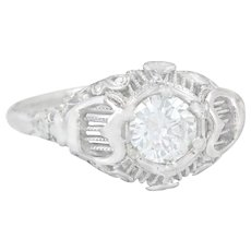 GIA Certified .56ct I SI2 Diamond 18K Gold Art Deco Engagement Ring