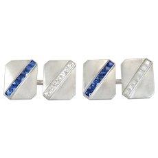 Platinum 1.40ct French Cut Genuine Diamond & Sapphire Antique Cufflinks 16.6g