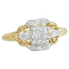 GIA Certified .75ct Old Mine Brilliant Diamond 14K Gold Engagement Ring