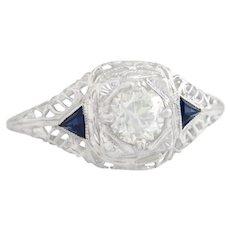 14K Gold .64ct Genuine Diamond & Sapphire Art Deco Engagement Ring 1.5g