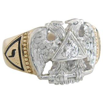 Art Deco 14K Gold Genuine Diamond Scottish Rite Double Headed Eagle Masonic Men's Ring