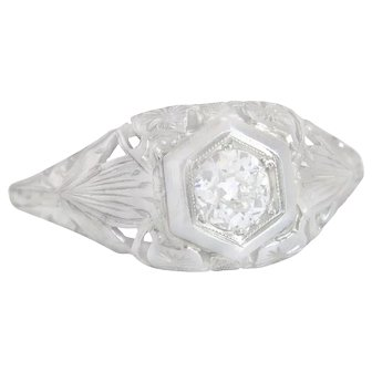 .31ct Old Mine Cut Diamond 18K Gold Flower Art Deco Engagement Ring 2.4g