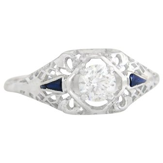 Vintage Estate 18K White Gold .45ct Genuine Diamond & Blue Sapphire Art Deco Engagement Ring