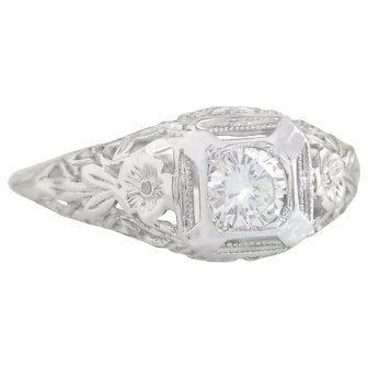 14k White Gold .38ct Genuine Diamond Flower Art Deco Engagement Ring