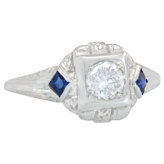 Estate .43ct Diamond & Sapphire 18K White Gold Art Deco Engagement Ring