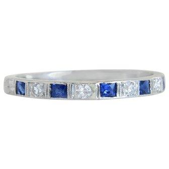 Estate .42ct Genuine Diamond & Blue Sapphire Platinum Art Deco Ring Band