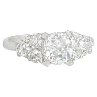 Estate GIA Certified Genuine Old Mine Diamond 2.58ct Platinum Engagement Ring