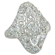 Art Deco .50ct Genuine Diamond 18K White Gold Heart Bow Flower Ring