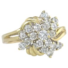 Estate 14K Yellow Gold 1.00ct Genuine Diamond Cluster Engagement Ring