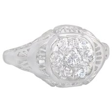 .42ct Genuine Diamond 18K White Gold Art Deco Engagement Ring