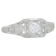 Estate .20ct Genuine Diamond 18K White Gold Art Deco Engagement Ring