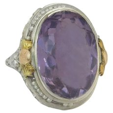 Estate 14K Tri Tone Gold 16.00ct Amethyst & Seed Pearl Art Deco Ring