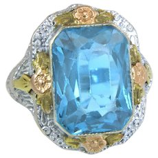 Estate Flowers 14K Tri Tone Gold 8.00ct Blue Topaz Art Deco Dinner Ring
