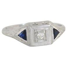 .12ct Genuine Diamond & Sapphire 20K White Gold Art Deco Engagement Ring
