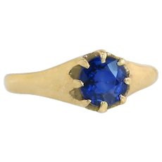 14K Yellow Gold .98ct Genuine Blue Sapphire Engagement Ring