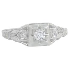 Estate Art Deco .12ct Genuine Diamond 18K White Gold Engagement Band Ring