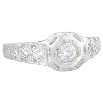 Vintage Estate 18K White Gold .13ct Genuine Diamond Art Deco Engagement Ring