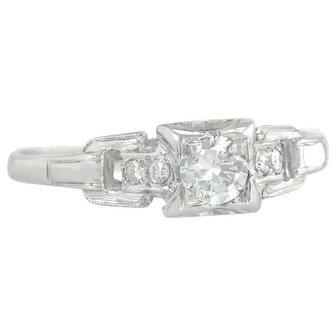 Vintage Art Deco 18K White Gold .25ct Genuine Diamond Engagement Ring